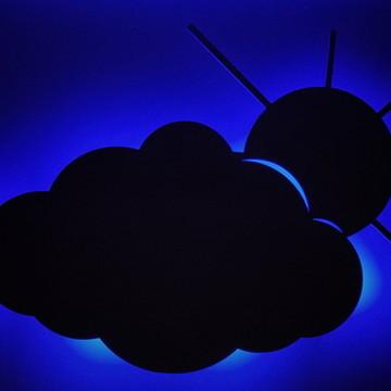 Nuvem de MDF cru e led em 3 cores