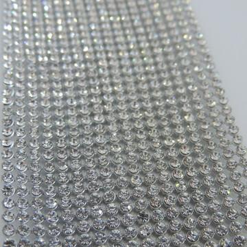 Manta Strass Cristal Prata 3mm 5x35cm