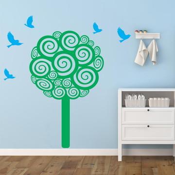 Adesivo Decorativo Árvore Encaracolada
