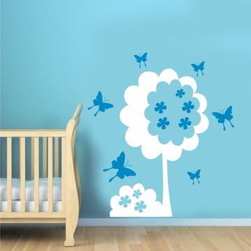 Adesivo Decor Árvore - Flor - Borboleta