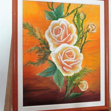Pintura em tela com decoupage