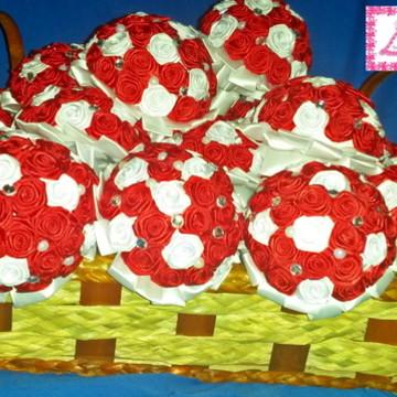 Mini Buquê Vermelho e Branco
