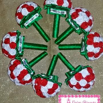 Mini Buquê Verde Branco e Vermelho