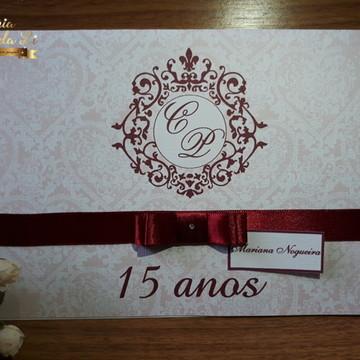 Convite de Casamento,15 Anos Bordô