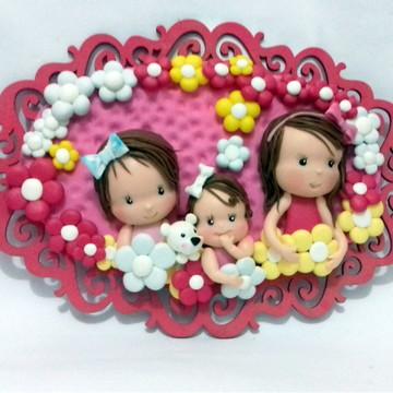 Enfeite de Porta em biscuit tema 3 irmãs