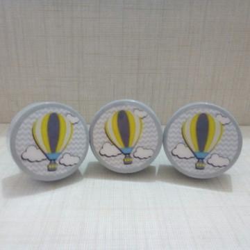 Puxador estilo Porcelana balão cinza chevron