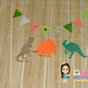 Bandeirola para Bolo Festa Dinossauros