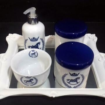 Kit higiene bebe porcelana Cavalinhos