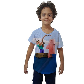 Camiseta Infantil Personagens Minecraft