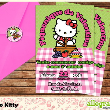 Convite Piquenique da Hello Kitty