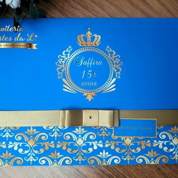 Convite 15 anos Azul /Dourado Cinderela