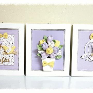 Trio de quadros passarinho e tulipas