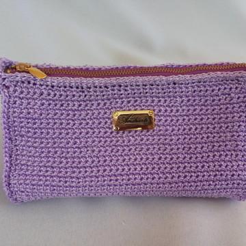 Necessaire em crochê cor lilás