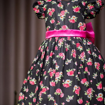 Vestido de Festa Infantil Floral Preto