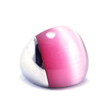Anel Feminino Aço Inox Olho de Gato Rosa