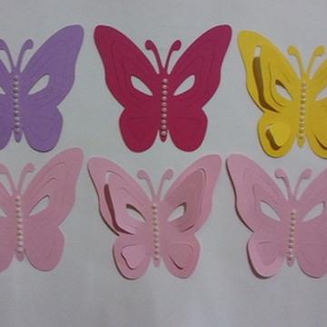 Apliques borboletas vazada com perolas