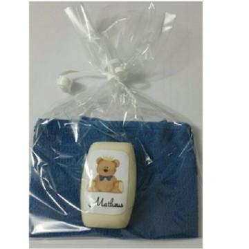 Sabonete e Toalha Urso Azul Chá de Bebê