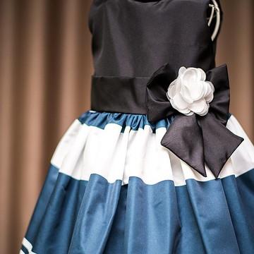 Vestido Infantil listrado preto e branco