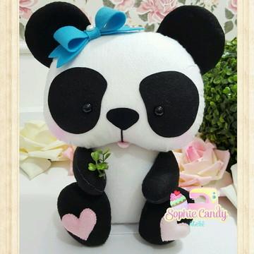 Ursinha Panda em feltro para Decoração
