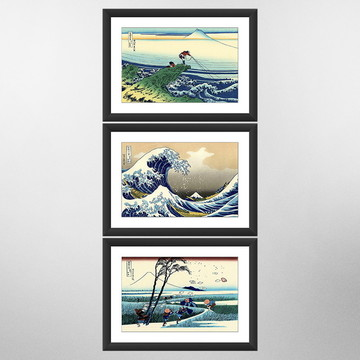 Kit 3 Quadro A Grande Onda Kanagawa Arte Japonesa Oriental