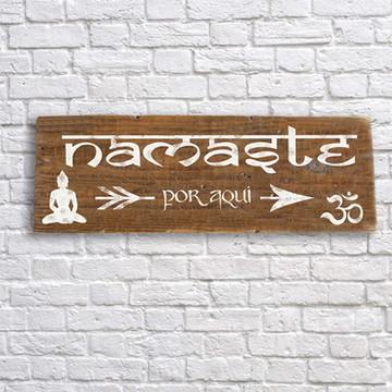 Placa decorativa rustica Namaste