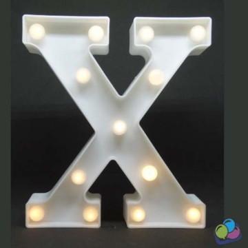Letra X Luminosa Led 3d A Pilha