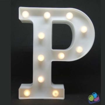 Letra P Luminosa Led 3d A Pilha