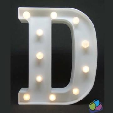 Letra D Luminosa Led 3d A Pilha
