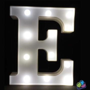 Letra E Luminosa Led 3d A Pilha