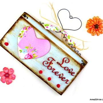 Porta-chaves rústico - Love Forever