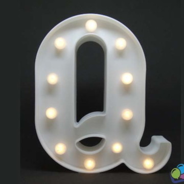Letra Q Luminosa Led 3d A Pilha