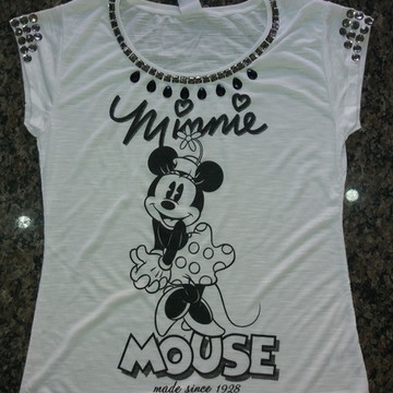 T-Shirt Minnie Bordada com Pedrarias
