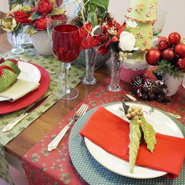 Trilho de mesa vermelho natal