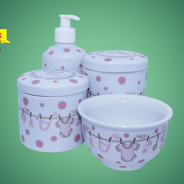 Kit higiene porcelana rosa 123