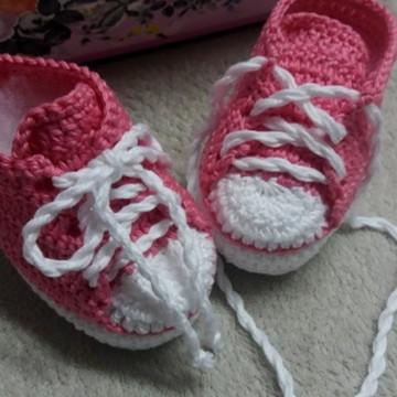 Tenis de crochê para bebe