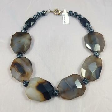 Colar quartzo negro, obsidiana e ágata