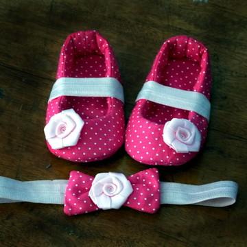 Sapatilha de tecido rosa