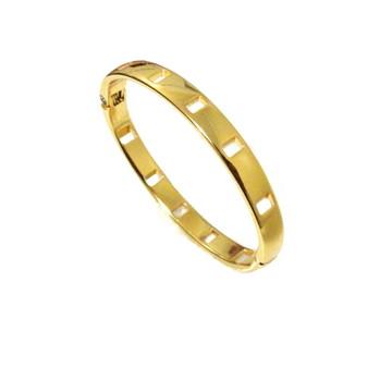 Pulseira Bracelete Feminino Rígido Metal Dourado