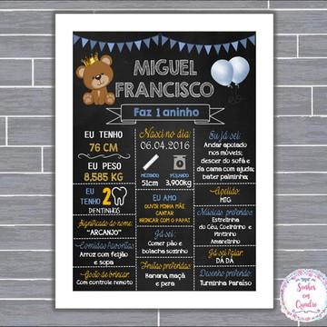 Quadro Chalkboard - Príncipe Urso