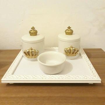 Kit higiene em porcelana coroa