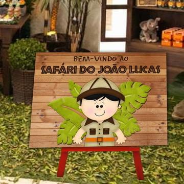 Festa safari - Placa em pvc