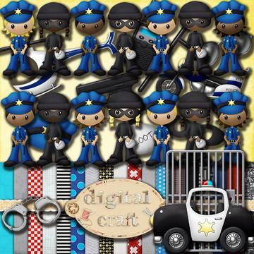 Kit Scrapbook Digital - Polícia e ladrão