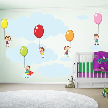 Adesivo Crianças Com Balões de Festa
