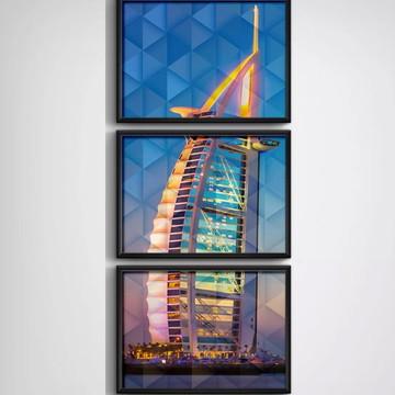 3 Quadros Dubai Geométrico Burj Al Arab Decoração Moldura