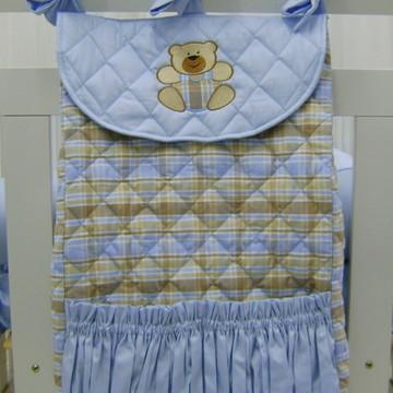 Porta Roupa Suja Xadrez Azul e Bege
