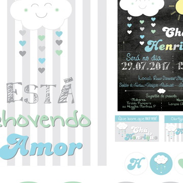 Kit digital Chá Nuvem Chuva Chalkboard