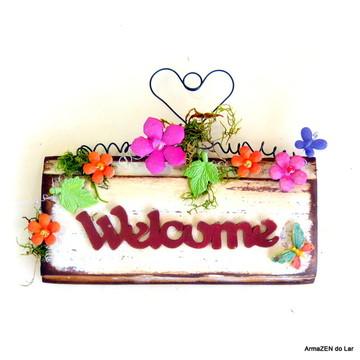 Placa rústica Doce Lar - Welcome