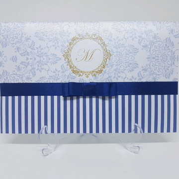 Convite metalizado azul e dourado