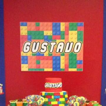 Festa lego - Placa decorativa
