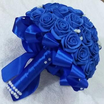 2 Buquês Azul Royal (Noiva+ Daminha)
